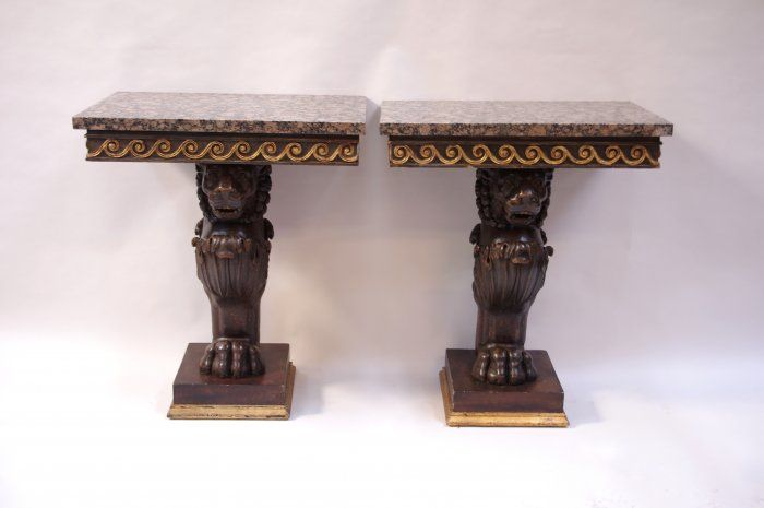 PAIR OF SMALL NEOCLASSICAL STYLE ITALIAN CONSOLES - Jean Luc Ferrand Antiquités - Italian work - Belgian granite marble top - Lion feet standing on a square base - Sculpted black lacquer wood - Neoclassical style