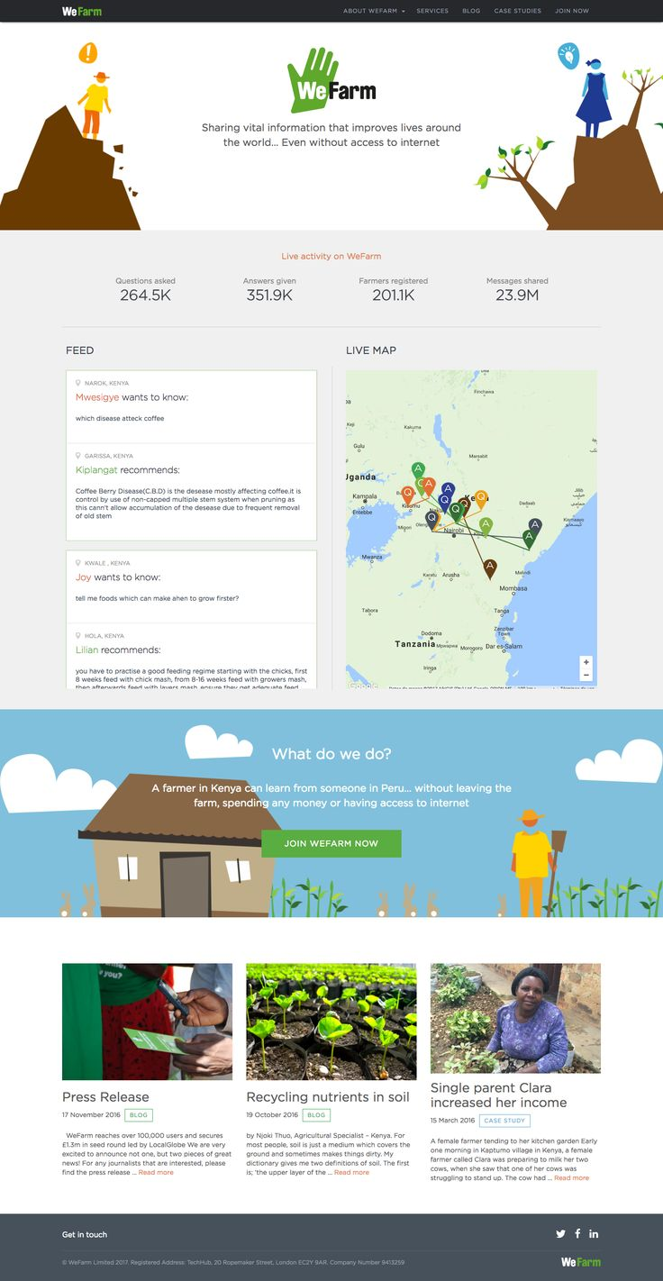 Fun design for an initiative focused on sharing farming information. It's design shows clearly its social impact.