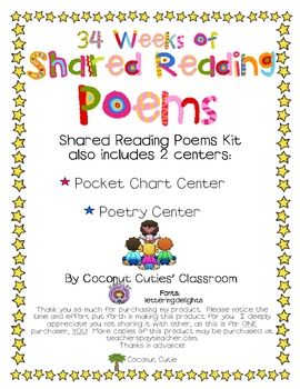 34 Weeks of Shared Reading Poems - $15 on TpT
