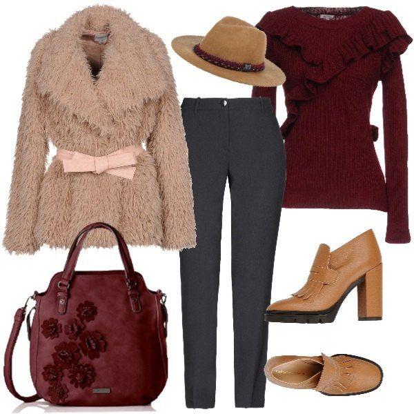 22b0fc2f2157f7 Moda Denim · Look informale per l'ufficio, pieno di glamour. Pantaloni,  pullover con ruches