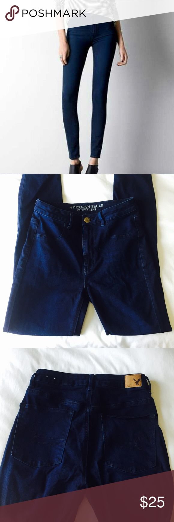 "American Eagle Sky High Jegging (Dark Wash) These dark wash denim jeans are skinny and super high waisted! They are also a little stretchy. Regular length, for reference I'm 5'4"" and I need to roll them up. Ordered online and decided high waisted jeans don't look great on me haha, so these have never been worn other than to try on.(NWOT). Questions and offers welcome! American Eagle Outfitters Jeans Skinny"
