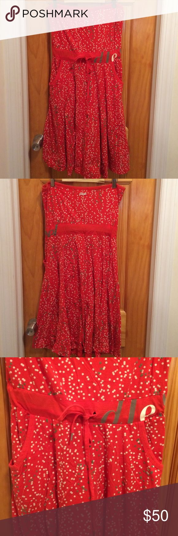 Diesel dress Strapless Diesel dress. Front pockets and ties waste. Beautiful flirty dress in polka dot orange, size small, hits right below knee Diesel Dresses Midi