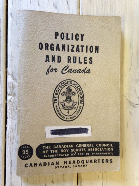 Policy Organization And Rules For Canada: The Boy Scouts Association 1955 Softcover on Etsy, $10.00 CAD
