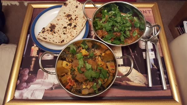 Thari Walee lamb, Saag Aloo & Roti bread by Sherri Eckworth using my recipes. #NationalCurryWeek #curryweek #Indianfood #homemade #curry #Indian #recipe #cooking #chicken http://www.harighotra.co.uk/indian-recipes/mains/thari-walee-lamb-lamb-in-a-curry-sauce http://www.harighotra.co.uk/indian-recipes/sides/roti http://www.harighotra.co.uk/indian-recipes/sides/saag-aloo