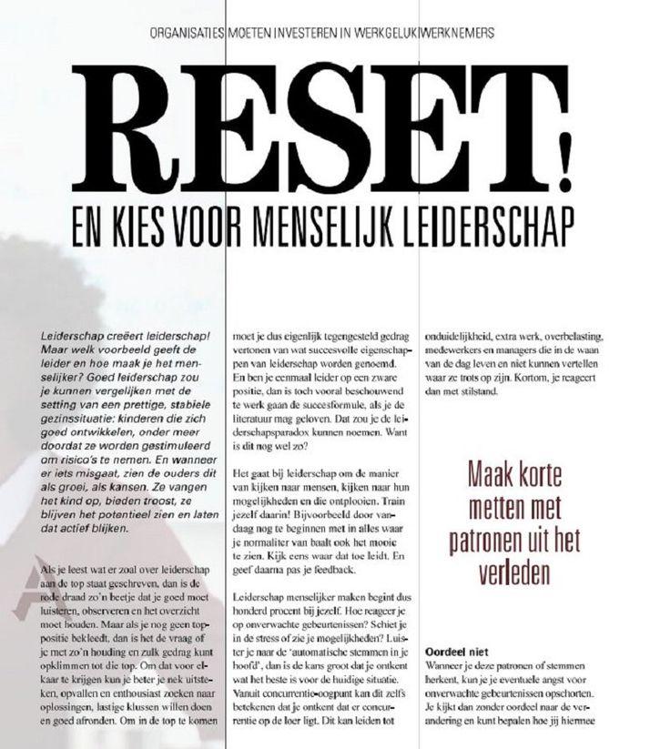 Een mooi artikel van auteur Erik Jan Koedijk in het tijdschrift IT Management: Organisaties moeten investeren in werkgeluk werknemers. RESET en kies voor menselijk leiderschap. Dit sluit naadloos aan op zijn boek 'RESET!, de 9 stappen om in beweging te komen'. #reset #erikjankoedijk #futurouitgevers