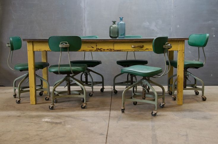 Toledo Vintage Industrial Drafting Chairs : Century Vintage Industrial  Style How Divine. I Used To Have Vintage Office Chairs As Dining Chairs.  And I Have ...