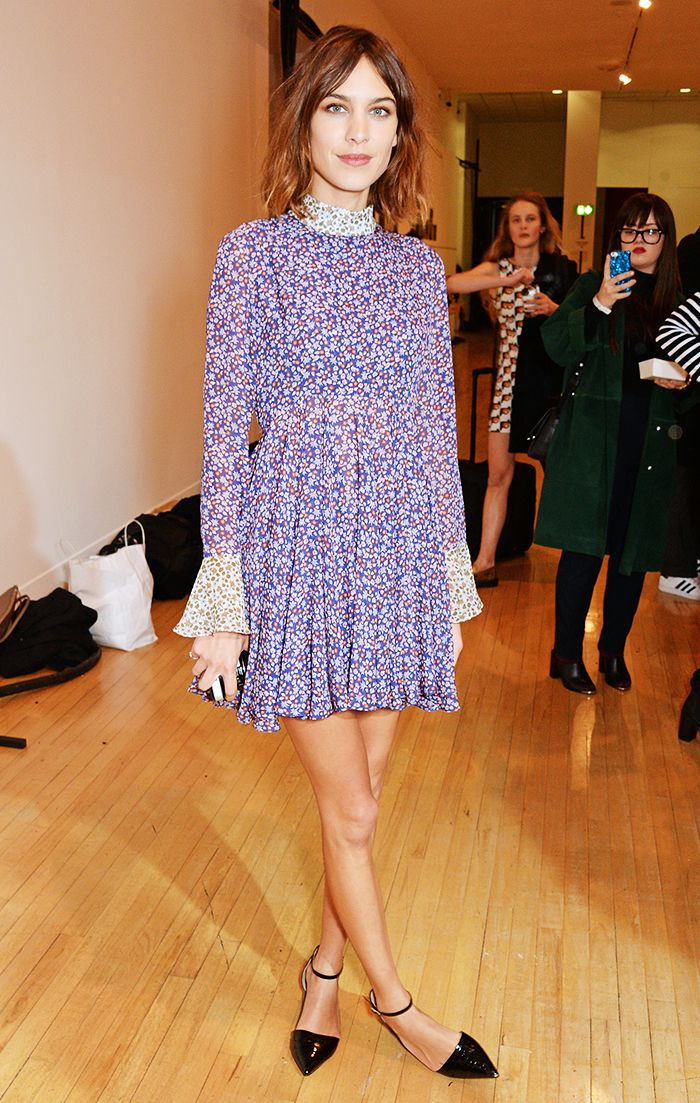 Alexa Chung keeping it casual in a purple printed dress and point-toe ankle strap flats