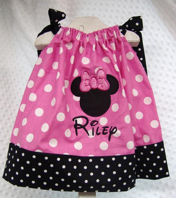 Minnie Mouse Applique Pillowcase Dress Personalized 12M - Size 8. Choose Pink with Black name & 194 best Disney Princess Run! images on Pinterest   Disney ... pillowsntoast.com