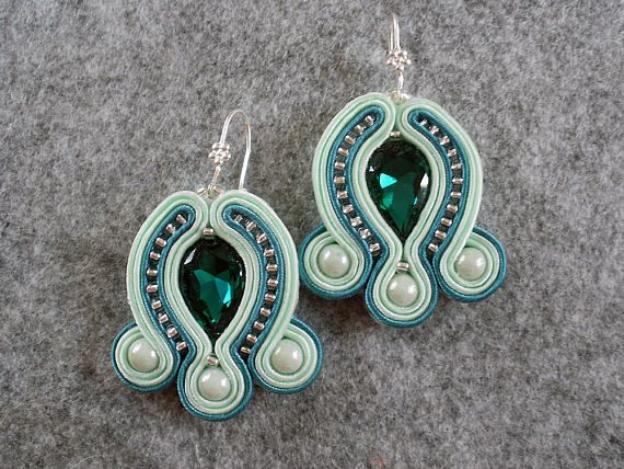 Green Soutache Earrings.