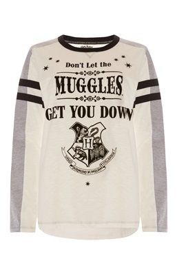 "Weißes ""Harry Potter Muggles"" Shirt"
