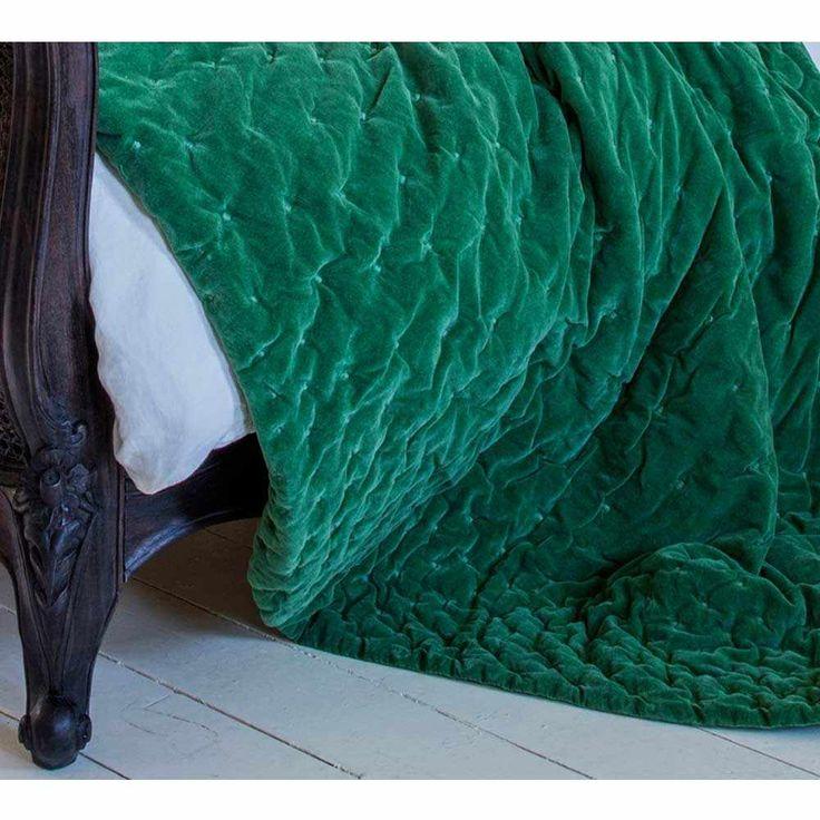 Plushious Velvet Bedspread in Emerald | Green Velvet Throw