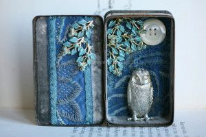 The Night Owl Storybox, by Little Burrow Designs.  Upcycled / recycled /reworked vintage sculpture. Textiles, embroidery, mixed media, assemblage, wirework, tin art, altered tin art, www.littleburrowdesigns.co.uk www.facebook.co.uk/littleburrowdesigns