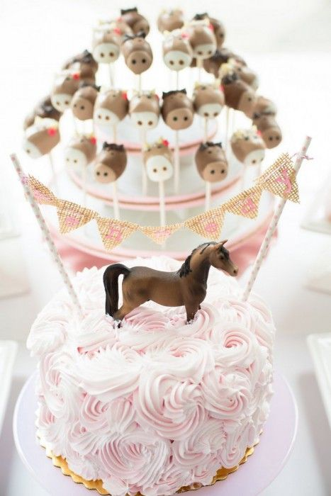 Pink & Brown Pony Birthday Party rosette cake :: wagner's bakery cake pops :: sugar krystles