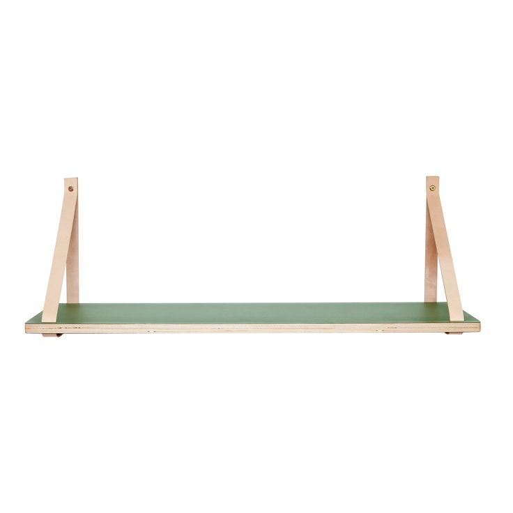Green wood shelf with leather  strap. Product number: 290206 - Designed by Hübsch