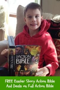Right now you can get The Action Bible Easter story for FREE on Amazon.  Also check out deals on other The Action Bible items.  Perfect for filling Easter baskets.