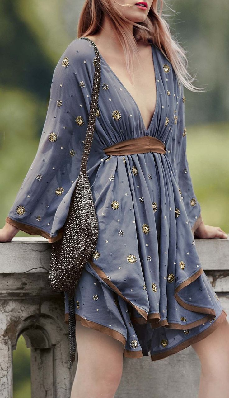 Plunging Neck Kimono Dress