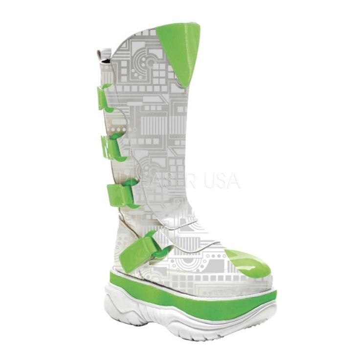 Cyber Goth UV Calf Boots – Demonia Neptune – by Pleaser