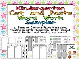Kindergarten Celebration: Word Work FREEBIE: Center, Classroom, Work Freebie, Kindergarten Celebration, Kindergartens, Free Kindergarten, Word Work, Kindergarten Cut And Paste, Cut And Paste Word