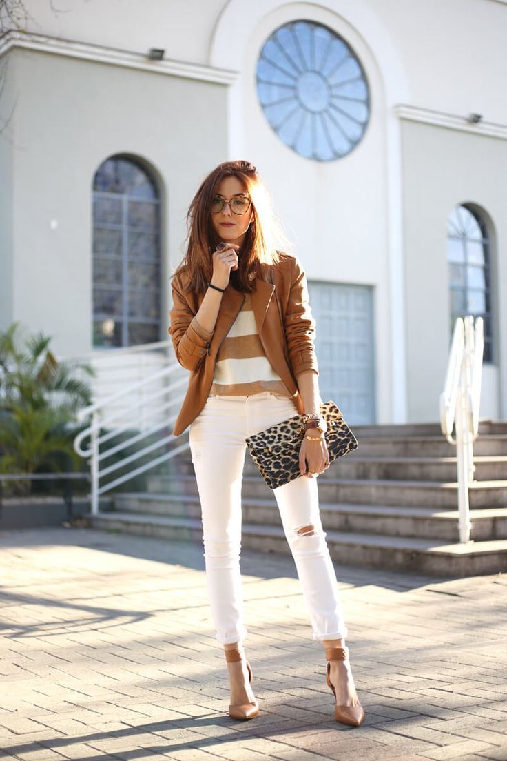 White and Camel Outfit