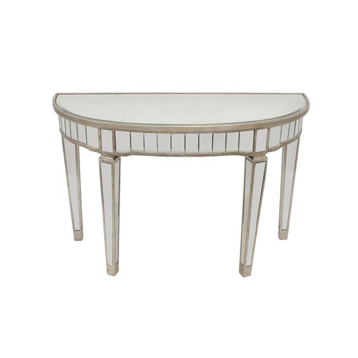 Elegant Mirrored Half Circle Console Table 117cm x 46cm x 76cm