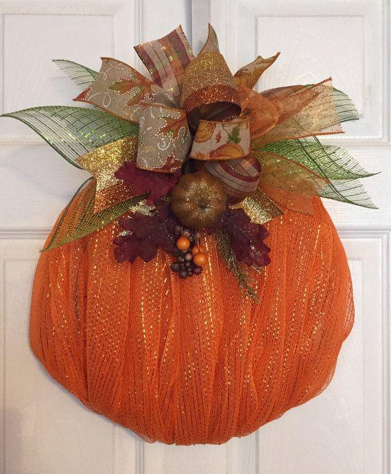 Fall/Autumn Deco Mesh Pumpkin Wreath with Ribbon Bow