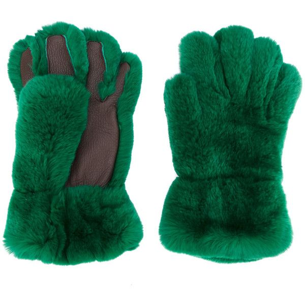 Marni fur gloves ($1,080) ❤ liked on Polyvore featuring accessories, gloves, green, green gloves, fur gloves and marni