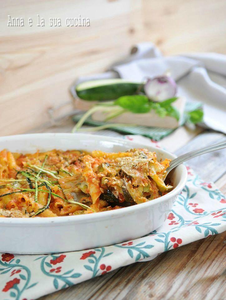 #Penne al forno con zucchine