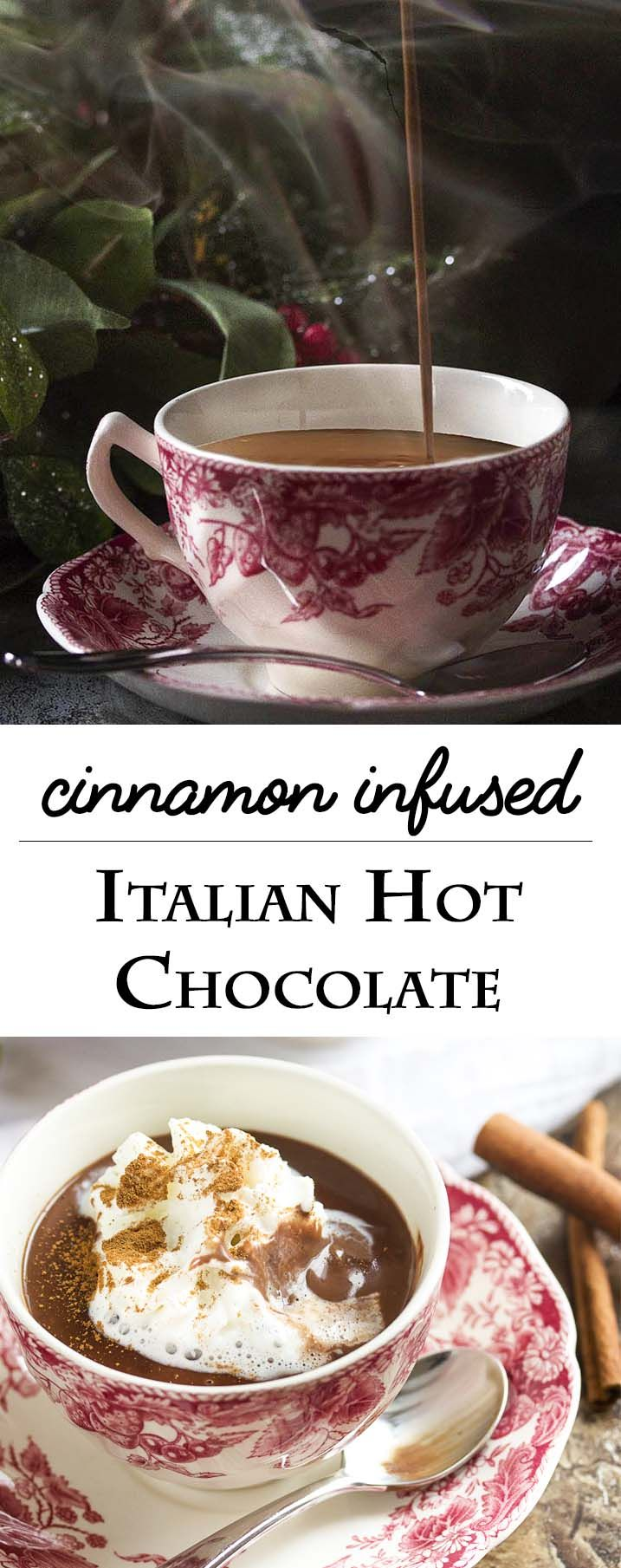 Cinnamon infused thick Italian hot chocolate is a not too sweet take on hot cocoa which is rich and decadent and intensely chocolaty. It's like drinkable bittersweet pudding! | justalittlebitofbacon.com