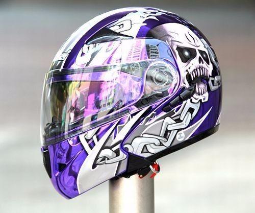 Masei 803 Purple Chrome Skull Modular Flip-Up Motorcycle Icon HJC Helmet #MaseiHelmet