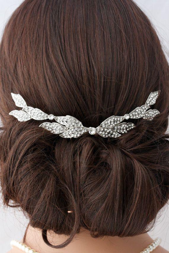 Wedding Comb Bridal Hair Accessory Crystal Leaf by LuluSplendor