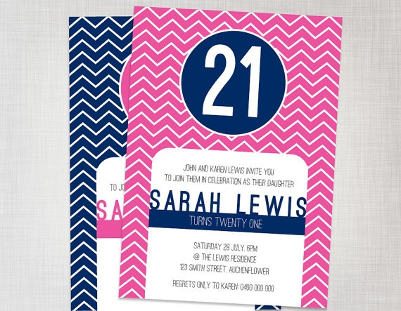Printable Preppy 21st Invitation in Navy and Pink by cartamodello, $15.00