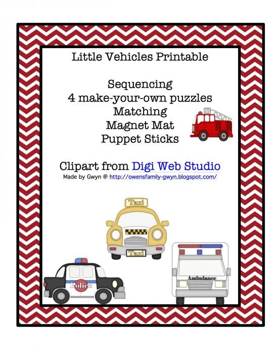 little vehicles printable product from preschoolprintable