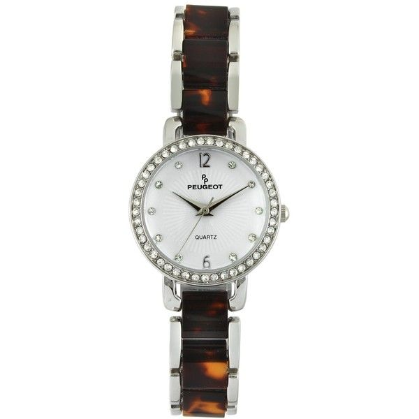 Peugeot Women's 'Swarovski Crystal' Quartz Metal Dress Watch,... (315 DKK) ❤ liked on Polyvore featuring jewelry, watches, tortoise shell watches, white faced watches, swarovski crystal watches, bezel watches and tortoise watches