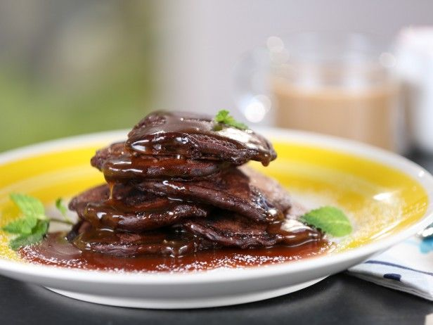 Double Chocolate Pancakes with Salted Caramel Syrup : Recipes : Cooking Channel