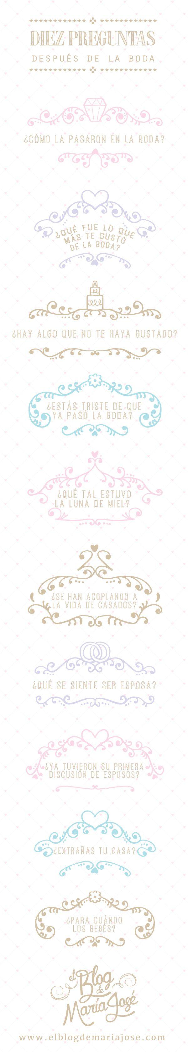 Diez preguntas después de la boda que seguramente escucharás #bodas #ElBlogdeMaríaJosé #despuésdelaboda