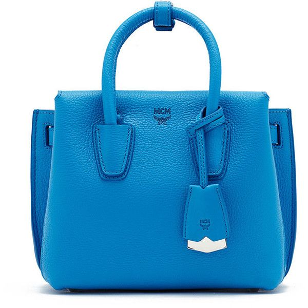 MCM Milla Mini Tote Bag ($720) ❤ liked on Polyvore featuring bags, handbags, tote bags, tile blue, blue leather backpack, handbags totes, mini leather backpack, leather backpack purse and leather travel tote