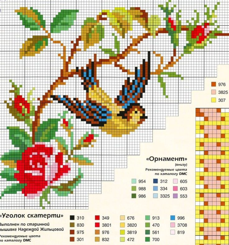 Cross stitch pattern: roses & bird