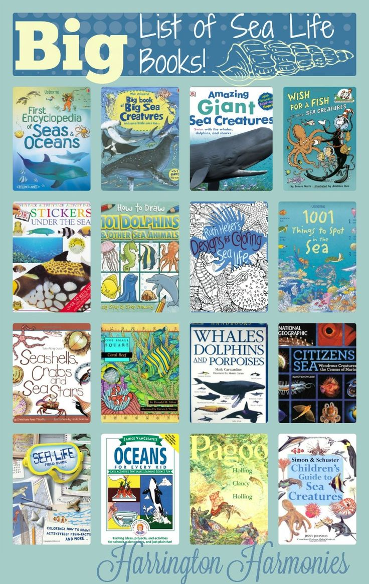 Big List of Sea Life Books for a sea life unit study. Books for all  ages are included. - Harrington Harmonies