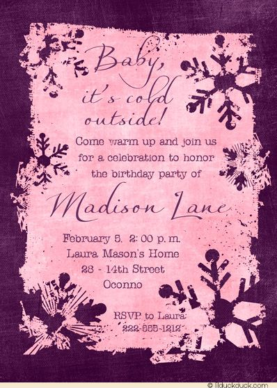 winter birthday party ideas for girls | Winter Snowflakes Teen Birthday Invitation