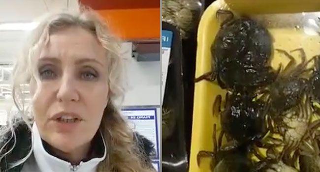 Licia Colò mostra in un video alcuni granchi ancora vivi chiusi in vaschette coperte di pellicola per alimenti e venduti al pubblico e scatta la polemica
