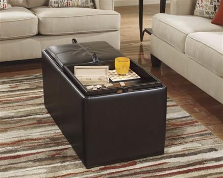 Deshan Accents Chocolate Faux Leather Ottoman With Storage