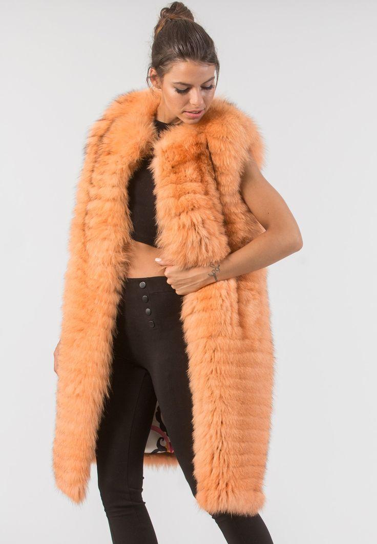 Orange Long Fox Fur Vest      #orange #fox #fur #vest #real #style #realfur #elegant #haute #luxury#chic #outfit #women #classy #online #store
