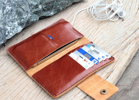 Full option branch brown leather iphone wallet by SakatanLeather, $37.00