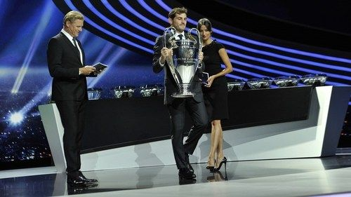 Iker Casillas of Real Madrid with the UEFA Champions League trophy
