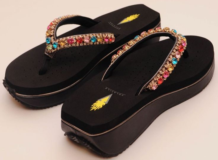 Volatile Flip Flop Shoes Rainbow Jeweled Multi Color Crystal Black Sandal 6 - 10 #Volatile #FlipFlops #Casual