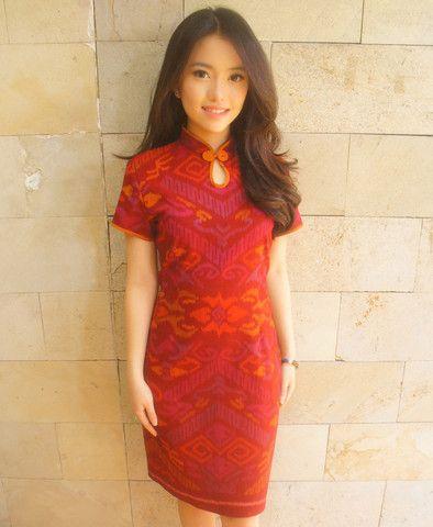Floral Brocade Dress Red | batik kultur