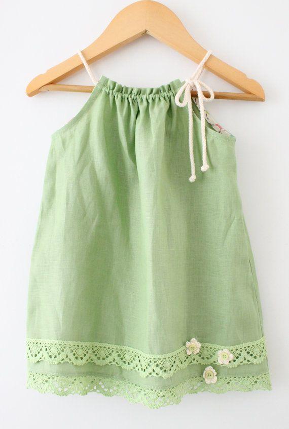 Apple Green Linen Girls DressRetro Toddler Baby by ChasingMini