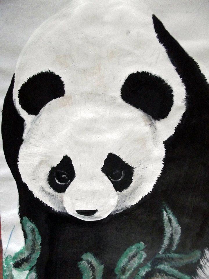 Pintura de un panda: Temperas escolares sobre hoja   A todo color ...