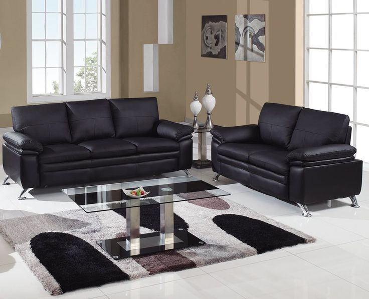 $1192 2 PC Black Sofa Set With Metal Legs (Sofa And Loveseat) By Global.  Furniture UsaLiving Room ... Part 96