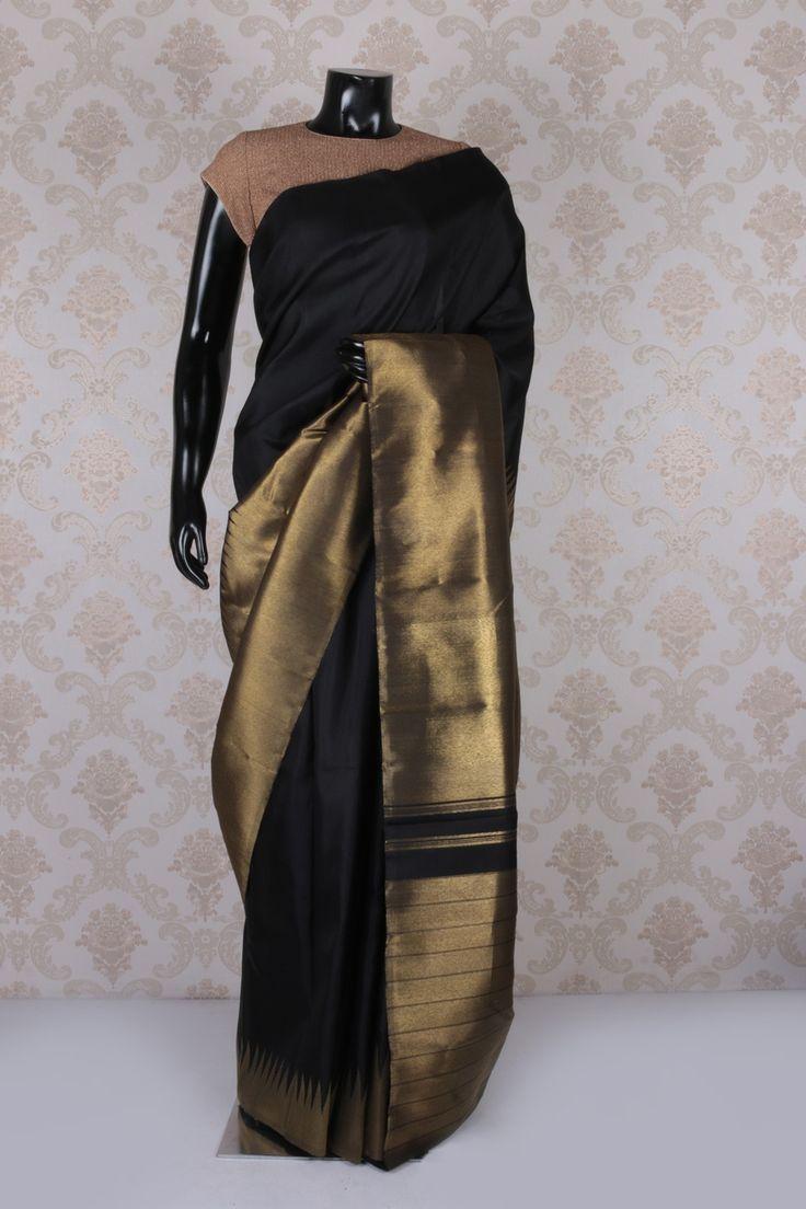 #Black kanchipuram silk enticing weaved #saree with #gold #trendy border -SR11591